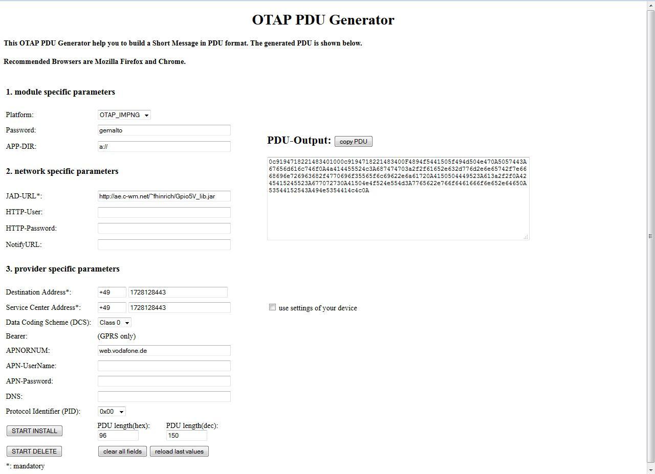 OTAP PDU Generator